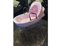 Girls pink Moses basket with grey stand excellent condition only used 3 times