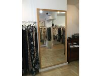 Large shop mirror with natural wooden frame (2.2 metres height X 1.2metres wide)