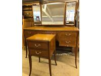 Antique inlaid mahogany dressing table & bedside cabinet