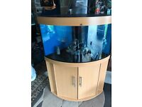 190l Juwel corner fish tank full set up with stand heater light lid filter black gravel ornament