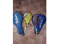 Tennis rackets - 2 excellent ones in great condition, 3 decent cases and a few old rackets