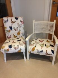 Two cute retro chairs- restored and reupholstered