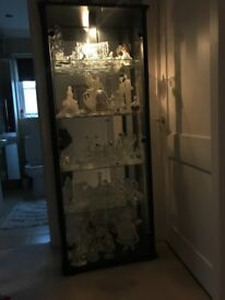 Black, mirror and glass display cabinet