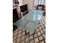 Heals 6 or 8 Seater Glass and Metal Dining Table ***Reduced to £65!***