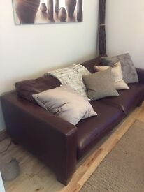 2 x 3 seater chocolate brown leather sofas, good condition
