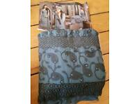 Asian unstitched outfit blue/grey