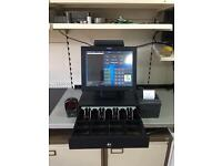 Toshiba till with ICR program barcode scanner printer and cash drawer for off licence, grocery shop