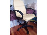Adjustable Cream Desk Chair with Armrest