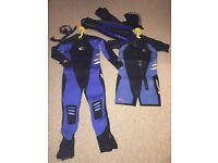 12mm Neoprene Men's large semi dry Wetsuit and Diving accessories