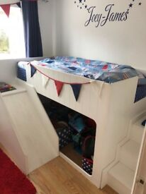 Children's Bed with Slide and Steps