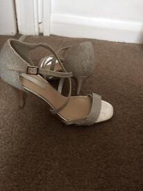 Dorothy Perkins silver glitter heels size 3