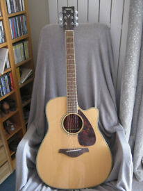 Yamaha FGX720SC Electro acoustic Guitar plus amp and many extras