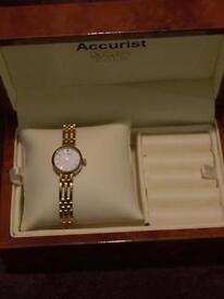 Accurist Ladies 9ct Gold diamond edition watch