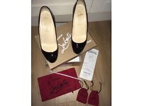 Christian louboutin black patent shoes, name- very prive, with peep toe & hidden platform