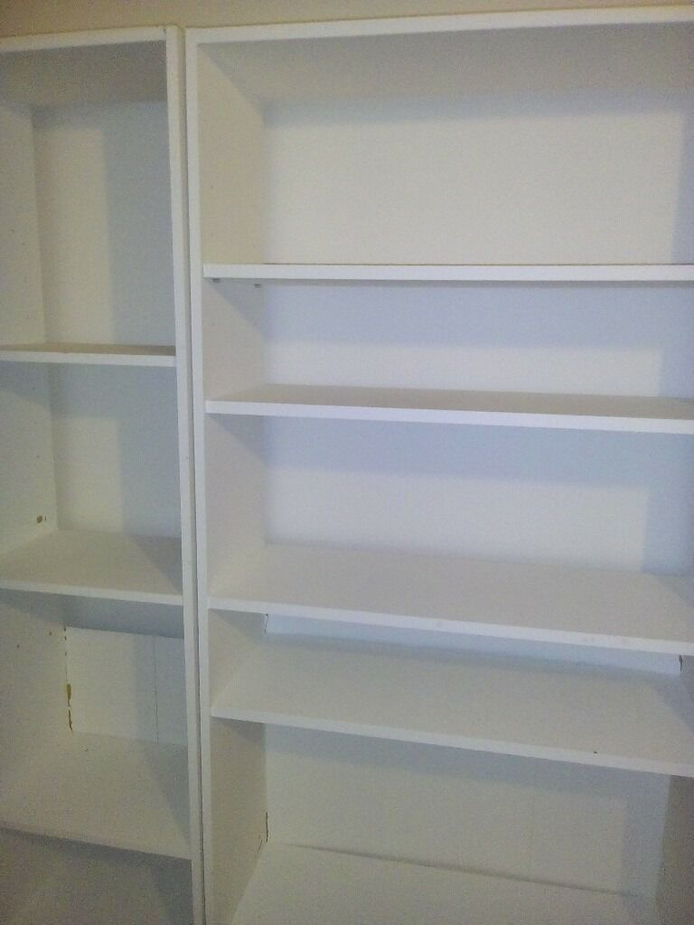 book shelves FREEin St George, BristolGumtree - 2 bookcases. One is height 180cm x width 42cm x depth 29cm. The other is 180cm x width 77cm x depth 29cm. Not in the best condition but fully Functional. Could be repainted. Will need 2 people to collect them. I need to get rid of them asap as they...
