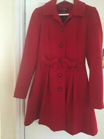 Miss Selfridge red size 8 coat immaculate condition