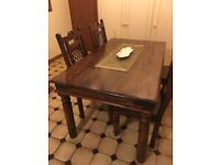 Jali Sheesham Rosewood Dining Table And Chairs