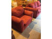 modern comfortable sofa and armchair