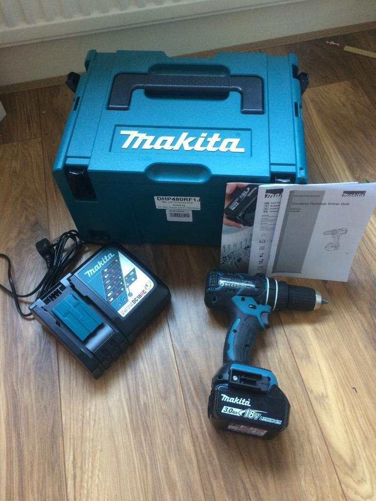 Makita DHP480RF1J 18 V Cordless Li-Ion Brushless Combi Drill - Blue/Black |  in Enfield, London | Gumtree