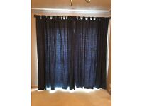 Navy lined tab top curtains