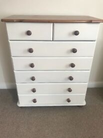 Pine painted chest of drawers