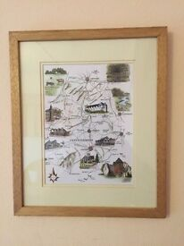 Illustrated 'map' of SHROPSHIRE & HEREFORDSHIRE glass framed.