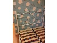 Metal frame small double bed (4ft) in good condition, in white. Modern with vintage look.