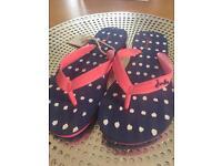 Girls / ladies joules flip flops size 4 new