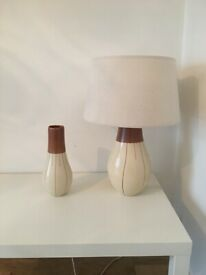 Cream table lamp and vase