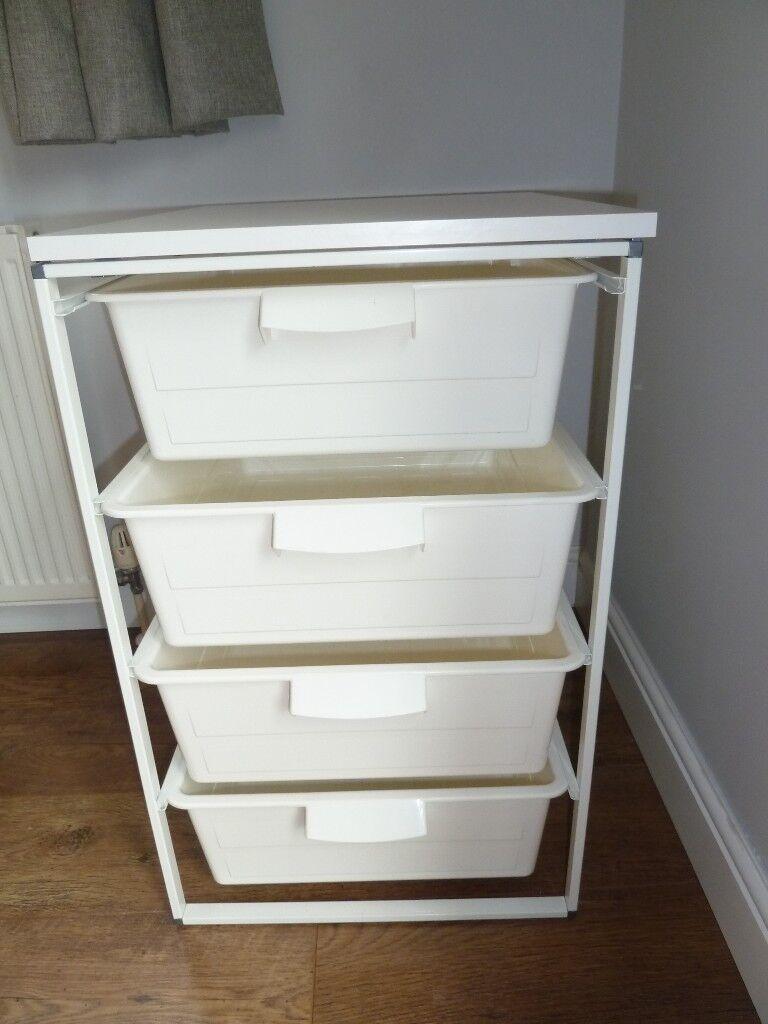ikea antonius white 4 drawer storage unit good used. Black Bedroom Furniture Sets. Home Design Ideas