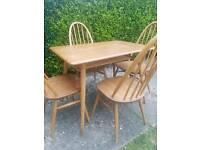 Ercol breakfast table and 4 Quaker chairs blonde