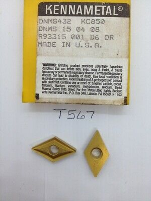 4 New Kennametal Dnms 432 Carbide Inserts. Grade Kc850. T567