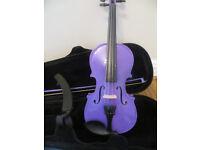Purple 1/2 Kaplan Violin, bow, shoulder rest, case and violin books: £45
