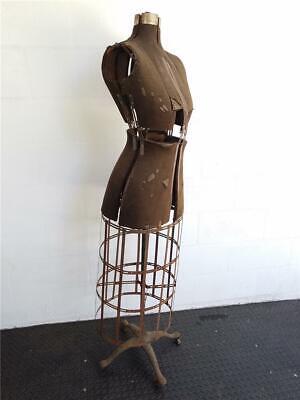 Antique 1900s Industrial Retail Mannequin Dress Form Ornate Cast Iron Base