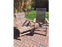 Two reclining garden chairs £7.50 each