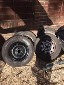 Vw T4 T5 steel wheels/tyres.