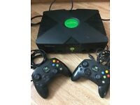 Original Xbox Console with 2 controllers and games!