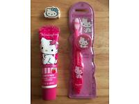 NEW & SEALED Hello Kitty Toothpaste & Toothbrush with Eraser Rubber Girls Kids Birthday Gift Bundle