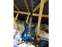 Electric guitar with amp and stand