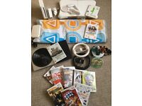 MASSIVE BUNDLE - Nintendo Wii Console + Wii Fit Board + DJ Turntable + Dance Mat + 12 Games + More