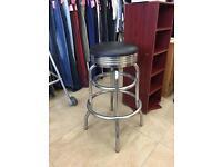 Chrome and black swivel stool