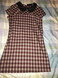 Ladies burgundy checked pinafore dress. Size 10