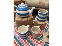 Cornishware blue small Betty teapot, small dreadnought jug, 10 oz blue and 6 oz pink mug NEW unused