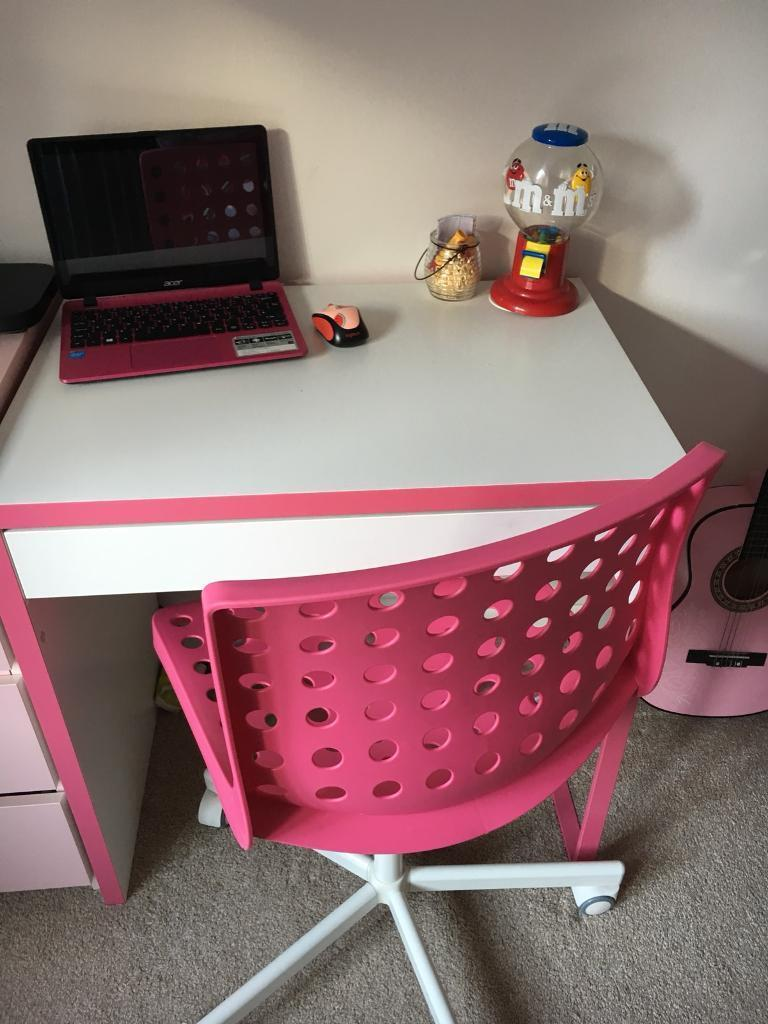 Girls Pink & White desk and chair | in Bicester ...
