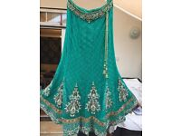 Green Lengha with crystal work made in Mumbai - size 14