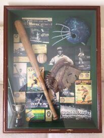 Baseball Shadowbox With Baseball Bat For Bar/Mancave