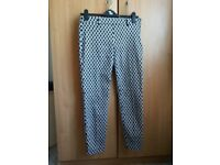 Geometric patterned Ankle Grazer Trousers size 8