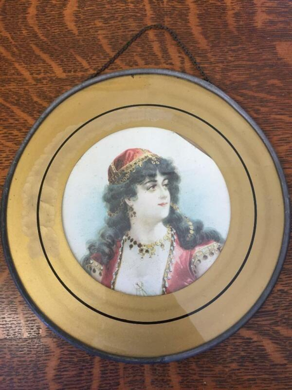 Antique Vintage Chimney Flue Stove Pipe Vent Cover Glass Plate Pretty Gypsy Lady