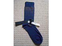 ALTO MILANO Blue Navy Socks COTTON Blend MADE IN ITALY