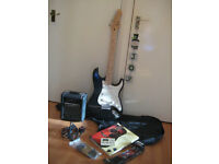 Stratocaster electric guitar and amplifier complete package
